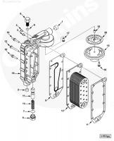 Теплообменник радиатор масляный Cummins QSC, QSL, L, ISL 3966365 5284362 3944464